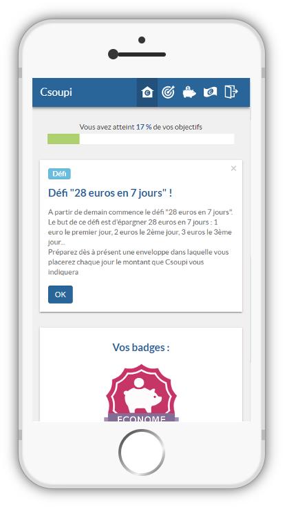 Le coach financier de Budget Banque exemple sur smartphone